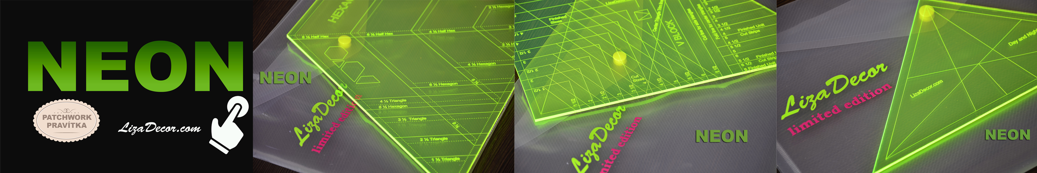 Neon edice patchworková pravítka