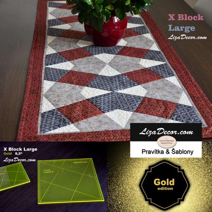 Patchwork Template X Block Large Gold